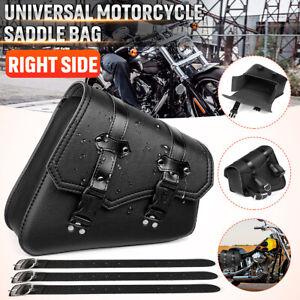 Right Side Universal Motorcycle Saddle Bag Storage Luggage PU Leather Cafe Racer