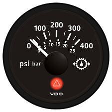 VDO Viewline Onyx 400 PSI/25 bar Gear Pressure Gauge 12/24V - Use with VDO Sende