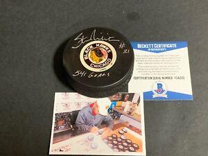 Stan Mikita Chicago Blackhawks Autographed Signed Puck BECKETT COA 541 Goals .