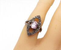 925 Sterling Silver - Vintage Pink Topaz & Marcasite Cocktail Ring Sz 6 - R15927