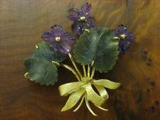 14kt 585 Yellow Brooch with Jade & Amethyst Decorations/Flower/Leaf / Violet