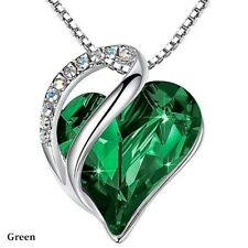 Women Silver Love Heart green Crystals Pendant Necklace Valentine's Day Gifts
