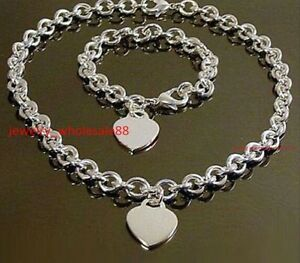 Women Set Stainless Steel Heart Tag Charm Necklace & Bracelet Oval Chain 8mm