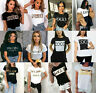 Women's Ladies Short Sleeve Slogan Printed Summer T-shirt Tee Top New UK