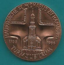 Kupfer-Medaille-Hamburg-1986-Hauptkirche St. Michaelis-Turmjubilar-1786-1986-