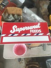 SUPERSWEET FEEDS SIGN - EMBOSSED - NEW OLD STOCK Rare Antique Find Free Shipping