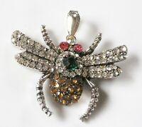 collier pendentif rétro couleur argent relief insecte cristaux taillé     COL107
