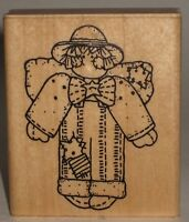 """JRL Design Rubber Stamp Little Boy Doll Angel Patched Wings Overalls 2.5"""" x 3"""""""