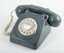 GPO 746 Telephone Retro Vintage Style Desk Phone With Rotary Dial Grey