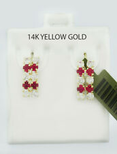 RUBY & WHITE SAPPHIRE DANGLING EARRINGS 14k Yellow Gold ** NEW WITH TAG **