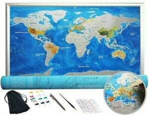"Scratch Off World Map Poster. Silver Land and Blue Ocean - 32""x23"" Extra Large!"