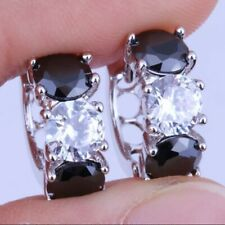 NEW 925 Sterling Silver Onyx + CZ Gemstone Huggie Earrings [EAR-394]