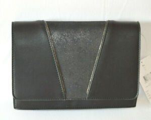 Ledertasche Clutch Black schwarz Kunstleder Trageriemen Magnetknopf B24xH17xT5cm