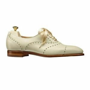 Women's Bespoke Handmade White Oxford Brogue Leather Lace-Up Ribbon Shoes