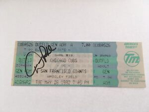 Dick Pole Signed May 26 1992 5/26/92 Chicago Cubs Giants Full Ticket Autograph