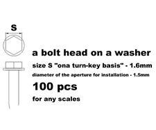 RESIN 1.6mm HEX BOLT ON WASHER, 100pcs for TAMIYA AOSHIMA DOYUSHA REVELL FUJIMI