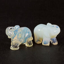 1.5 Inch Nature Opal Crystal Carved Elephant Jade Lucky Stone Home Table Decor