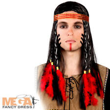 Indian Shaman Wig Men Fancy Dress Native American Chief Adult Costume Accessory