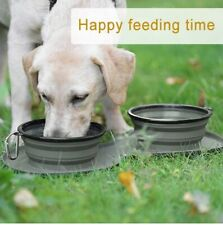 New listing Dog Bowls Collapsible Silicone Portable Travel Expandable Double Dish W/Matt Hik