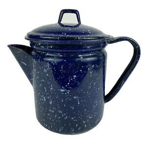 """7"""" Graniteware Blue / White Speckled Enamel Coffee Tea Water Kettle Pot w/ Lid"""