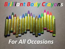 18 Body Crayons UV Metallic & regular  Mardi Gras festivals kids parties H'ween