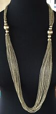 PAM HIRAN~Signed~Antique Gold Tone Multi-Strand Chains/Beads Necklace~NWT