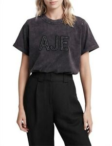 Faulty! Aje Womens Crafted Tee Shirt S/Sleeve Cotton Jersey T-shirt Crew Top M