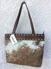 Western Leather & Cow Hide Handbag Purse Tote w/ Tooling & Crystals K Bar J T10