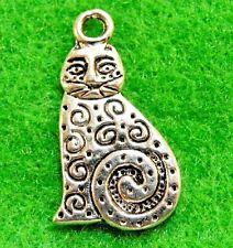 10Pcs. Tibetan Silver Kitty CAT Charms Pendants Earring Drops Findings C05A