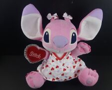 "Disney Store 14"" Lilo & Stitch Pink Angel Valentines Red Hearts Plush Toy Doll"