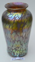 Iridescent Cranberry Vase with Gold Oil Spot Design by Saul Alcaraz. Blown