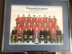 1971/72 Montreal Canadiens Stanley Cup team photo framed Ken Dryden Rookie