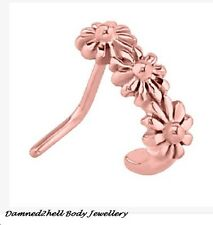 ROSE GOLD PVD SURGICAL STEEL DAISY CHAIN NOSE RING WRAP ~ 0.8mm ~ 20g