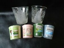 2 YANKEE CANDLE Glass Holders FROSTED SNOWMEN & 4 Christmas Scented Votives