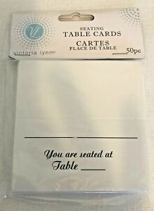 Brand New Victoria Lynn Seating Table Cards Package 50 Pieces White & Black