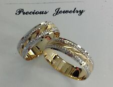 14K SOLID TWO TONE GOLD HIS AND HER WEDDING BAND RING SET SZ 6-13 FREE ENGRAVING