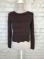 NEW LOOK - Burgundy Black Ribbed Long Sleeve Cropped Jumper - Womens - Size 10