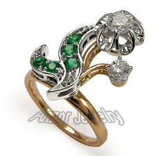 Russian Style Genuine Diamond & Emerald Ring in 18k Solid Rose & White Gold