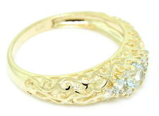 Aquamarine & Diamond 9ct Solid Gold Antique Style Ring- Sz N/7.0 -30 Day Returns