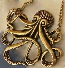 Octopus Pendant Vintage Brass Nautical Necklace antique bronze Long Chain Squid