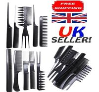 10 piece Hair Styling Comb Set Professional Black Hairdressing Brush Barbers UK
