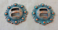 "Pair Slotted Conchos 1"" Copper Turquoise Pico Berry Weaver Leather Horse Rosette"