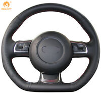 Black DIY Leather Steering Wheel Cover Wrap for Audi TT 2008-2013 #GB001