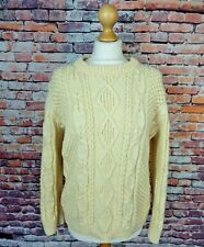 "Vintage chunky cable aran hand knit jumper wool blend bust M 12 bust 40"" cream"