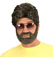 Mens George Michael Wig Beard 70s 80s 90s Wham Boy Band Fancy Dress Mullet Curly