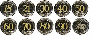 Age 21-90 Foil Helium Balloon Black Gold Silver Happy Birthday Party Decoration