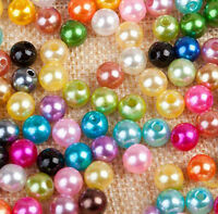 4/5/6/8/10mm Mixed Pastel Colors Plastic Pearl Round Beads Jewelry Crafts DIY