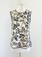J Crew Womens Gold Leaf Floral Shell Tank Top Blouse Ivory Blue Size 10 C4194