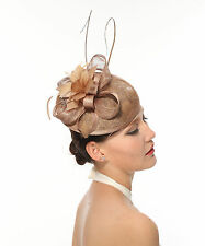 Kentucky Derby Feather Floral Sinamay w Lace  Headband Fascinator Cocktail Taupe