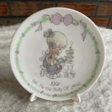 Precious Moments 1991 Porcelain Mini Plate with Easel Tell Me The Story of Jesus